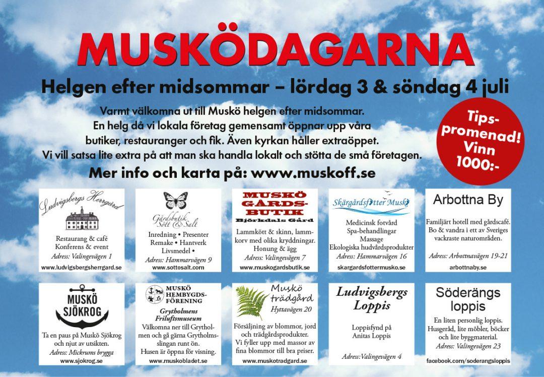 Annons Musködagarna helgen efter midsommar på Muskö