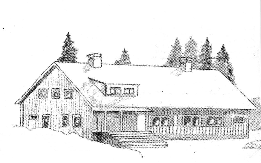 Den första bygdegården. Teckning: Enok Nordström