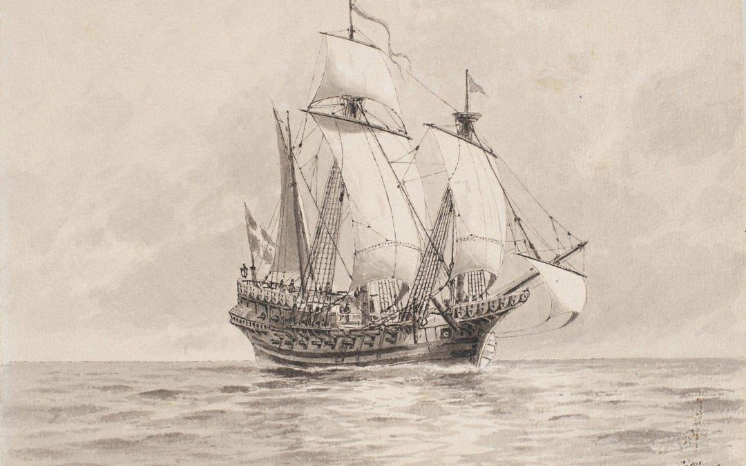 """Lybska Svan (""""Svanen från Lübeck"""") var Gustav Vasas flaggskepp. Det köptes från Lübeck 1522 för 7 600 lübska mark och ankom tillsammans med nio andra inköpta skepp från Lübeck den 7 juni. Dagen brukar betraktas som den svenska flottans födelsedag. Rekonstruktion av Jacob Hägg – Digitalmuseum.se"""