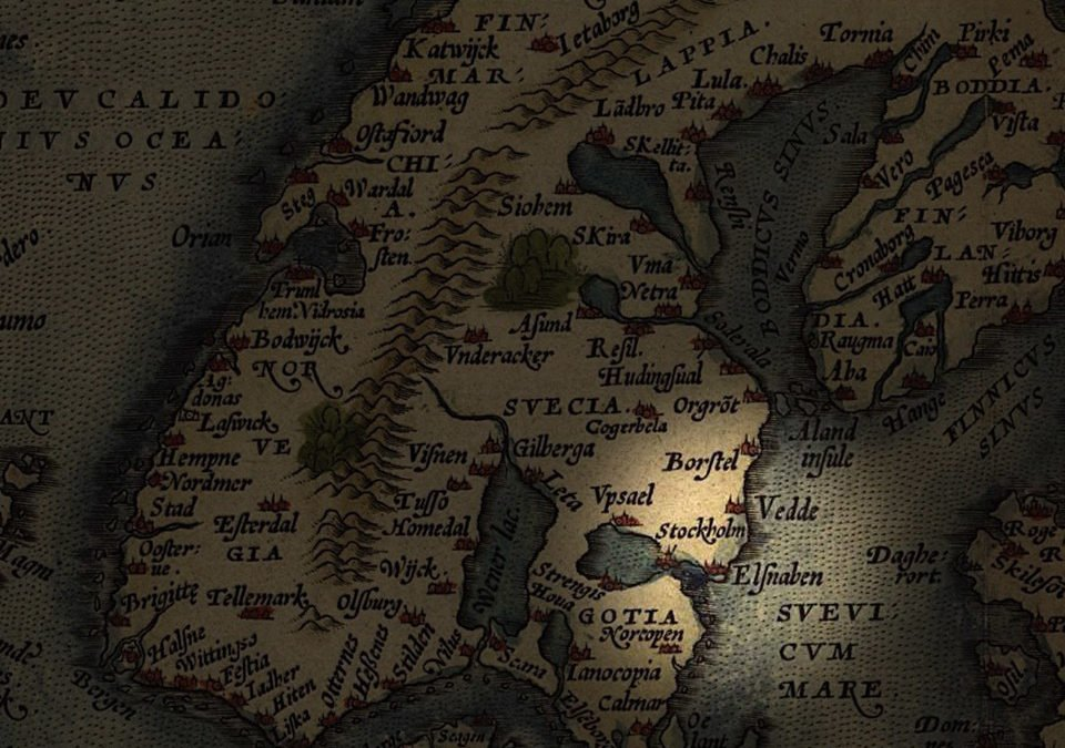 Karta över Sverige från 1571. Stockholm och Älvsnabben är utmärkta.