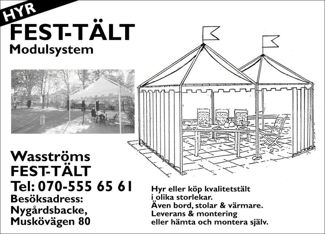 Wasströms Fest-Tält Annons