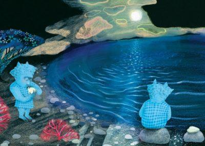 Illustrationer ur barnboken Vi är monsterbarn. Illustratör: Lotta Geffenblad