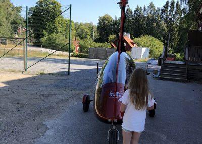 Gyrokopter vid Muskö skola. Foto: Christin Svensson