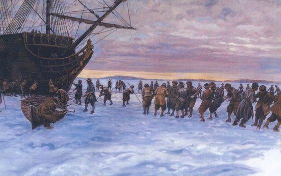 """Fartygen sågades ut genom isen. I stark kyla utkommenderades 900 man för att ta upp en ränna framför de infrusna skeppen. Isen sågades sönder i stora flak som sköts in under iskanten. Illustration: Göte Göransson ur """"Regalskeppet Kronan"""" Bra Böcker"""