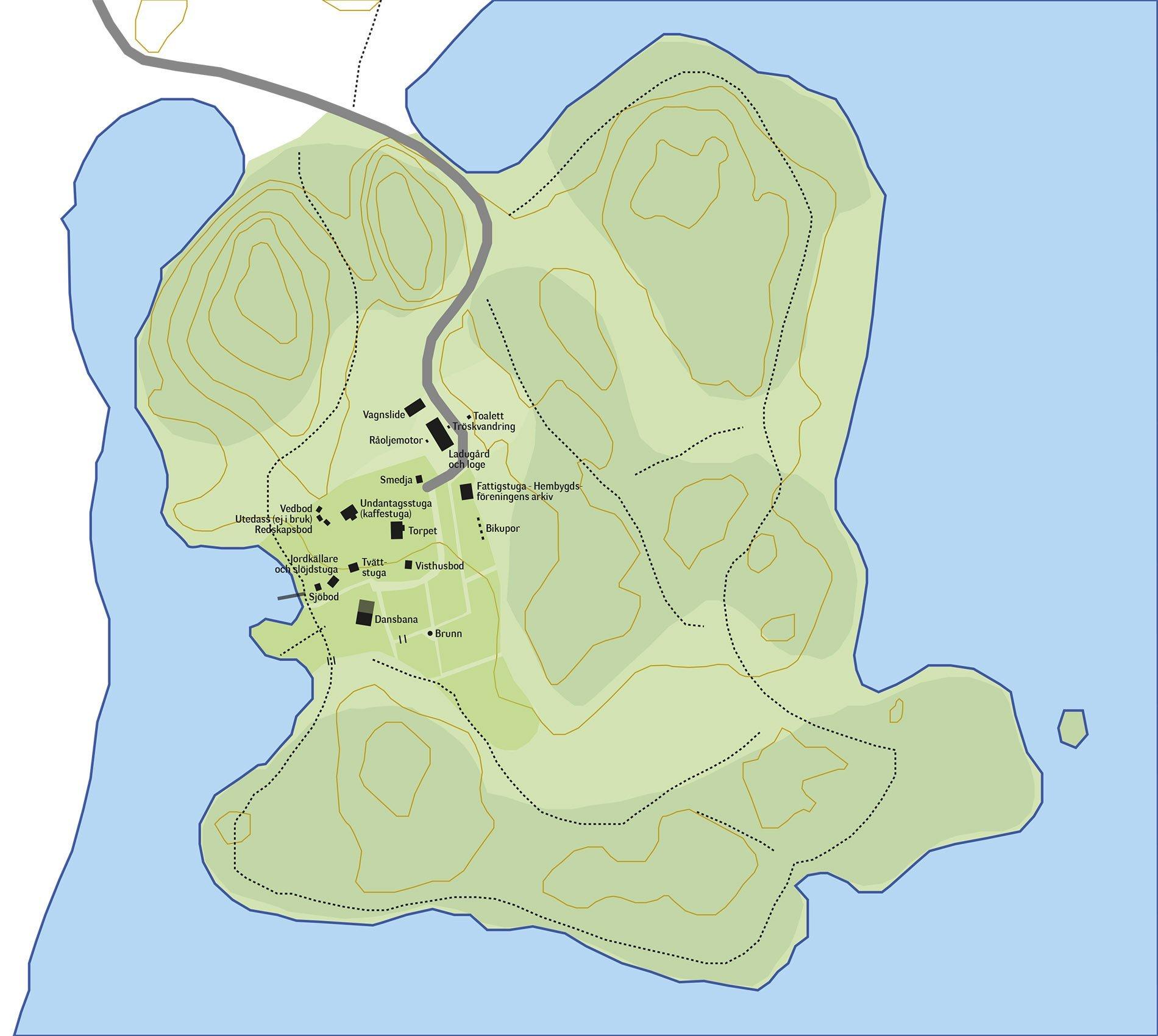 Grytholmen Karta. Illustration: Bengt Grönkvist