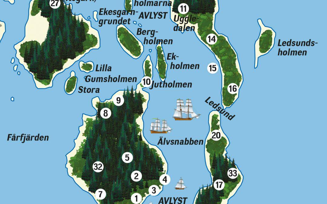 Beskrivning av fasta fornlämningar i älvsnabbshamnen. Illustration: Bengt Grönkvist