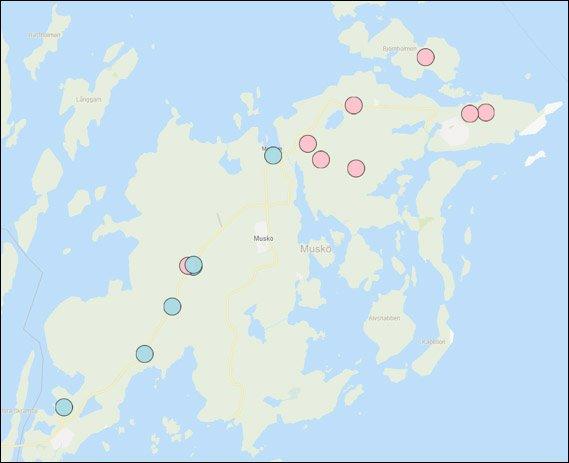 Kartbild med rapporterade viltolyckor och anmälda tillgreppsbrott
