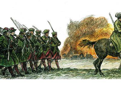 """Ryska trupper på väg över ön. Teckningar av Göte Göransson från boken """"Rysshärjningarna"""" av Magnus Ullman."""