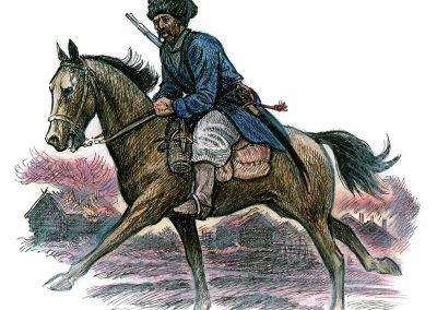 """Rysk kosack. Flera galärer var byggda för att kunna medföra hästar. Teckningar av Göte Göransson från boken """"Rysshärjningarna"""" av Magnus Ullman."""