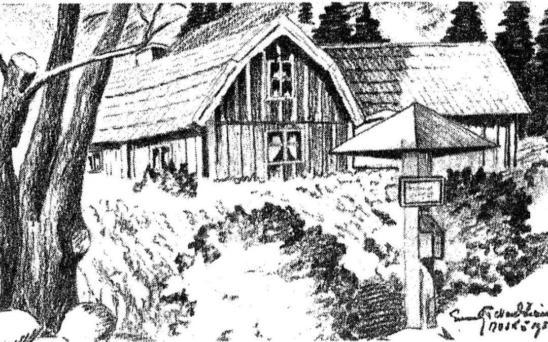Fattigbössan på Älvsnabben nedanför Älvsnabbstorpet på 1940-talet. Teckning av Enok Nordström.