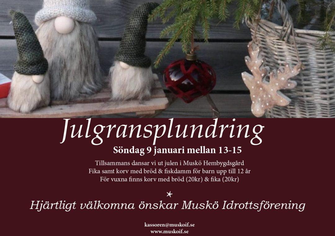 Julgransplundring- söndag 9 jan 2022