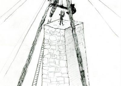 Ankaret placeras på toppen av monumentet. (Teckning Ulf Busch)