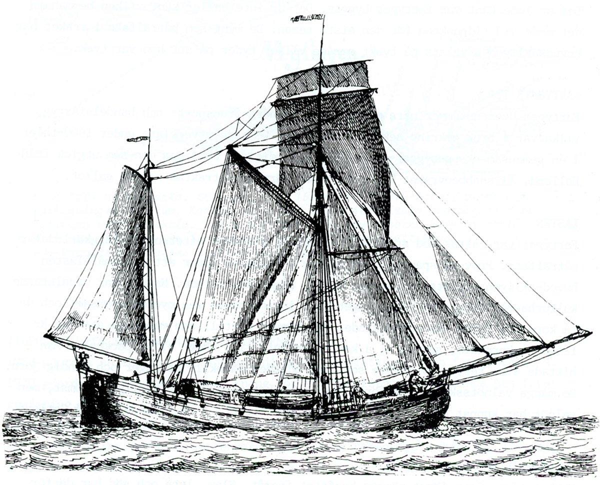 """En galiot under segel. Teckningen från 1789 visar hur """"Concordia"""" såg ut."""