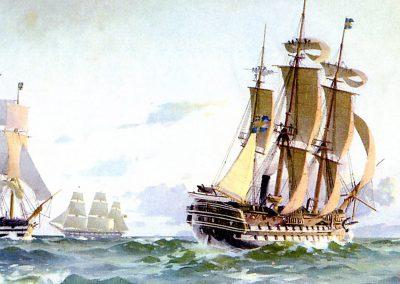 """Ånglinjeskeppet """"Stockholm"""" sjösatt 1856 och utrangerad 1921. Dimensioner: (lxbxd) 56,6 x 14,8 x 6,9 meter. Totala seglingsytan 2. 548 kvadratmeter. Maskineri en ångmaskin på 800 hk som gav en fart på 6,5 knop. Besättning 739 man. Linjeskeppen tillhörde främst 1700-talet och 1800-talets första hälft. Utrustningen med ångmaskin påverkade knappast linjeskeppens operativa utnyttjande, då de alltjämt var seglande skepp, men nu med vad som närmast kan betraktas som ett hjälpmaskineri. Det skulle främst komma att användas vid anlöpande till och utlöpande från hamnar samt vid stiltje. Oljemålning av Herman af Sillén 1903. Lägg märke till ankaret på styrbords kranbalk."""